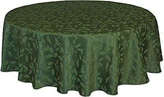 Lenox Holly Damask Tablecloth, 60 by 84-Inch Oval, Green