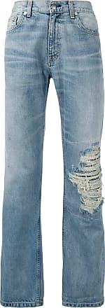 Warren Lotas Calça jeans reta destroyed - Azul