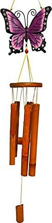 Great World Company StealStreet 448001 39 Bamboo Wind Chime with Painted Butterfly Top, Purple Tone