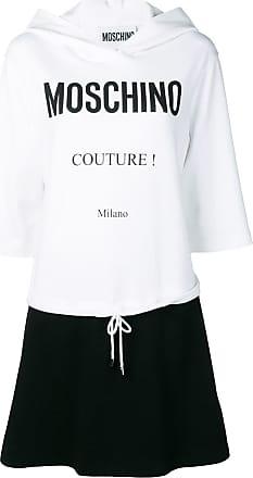 Moschino logo hoodie dress - White