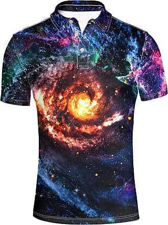 Hugs Idea Galaxy Star Pattern Casual Sport T-Shirts Novelty Short Sleeve Shirts Tees for Men