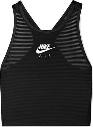 Nike Miler Cropped Mesh-paneled Stretch Top - Black