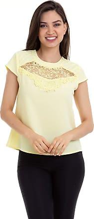 Kinara Blusa Crepe Renda e Tule no Decote Amarelo Kinara