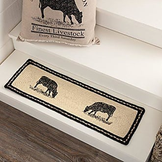 VHC Brands 45807 Farmhouse Flooring Miller Farm Charcoal Cow Jute Latex Backing Stenciled Nature Print Rectangle Stair Tread, Bleached White