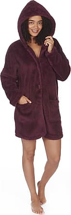Forever Dreaming Womens Ladies Snuggle Fleece Lounge TOP Ladies Animal Novelty Hooded TOP Cardi (Large 16/18, Burgundy Coatigan)