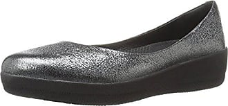 FitFlop Womens Leather Superballerina Ballet Flat, Anthracite, 8 M US