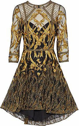 b3f197f6e8a Marchesa Marchesa Notte Woman Sequin-embellished Metallic Embroidered Tulle  Dress Gold Size 10
