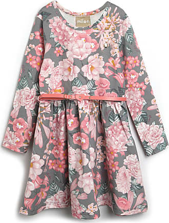 Milon Vestido Milon Infantil Flores Cinza/Rosa