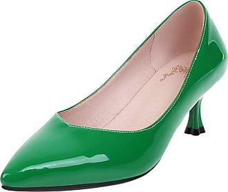 Mediffen Women Ladies Kitten Heels Fashion Party Pointed Toe Pumps Slip On Dress Evening Pumps Elegant Prom Shoes Green Size 33 Asian