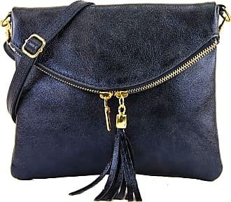 modamoda.de Ital. Leather Clutch Shoulder Bag Underarm Shoulder Bag Girl Small Nappa Leather T139, Colour:T139A dark blue metallic