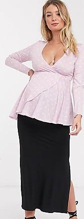 Asos Maternity ASOS DESIGN Maternity bias cut jersey midi slip skirt with split in black