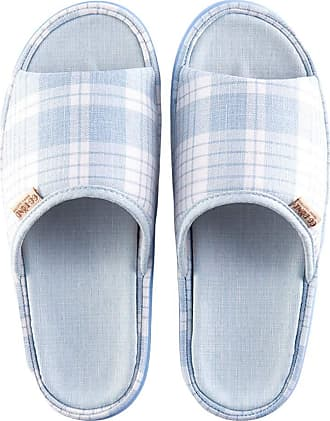 Insun Women Casual Cotton Flax Slippers Indoor Use Shoes Light Blue