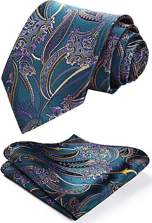 Hisdern Floral Paisley Wedding Tie Handkerchief Mens Necktie & Pocket Square Set Aqua & Purple & Yellow