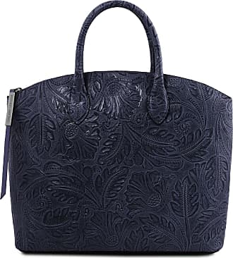 Tuscany Leather Borsa shopping in pelle stampa floreale Blu scuro 3b08a006205