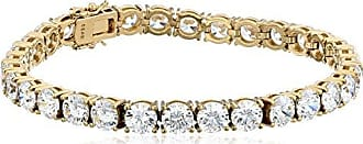 Amazon Collection Yellow Gold Plated Sterling Silver Tennis Bracelet set with Round Cut Swarovski Zirconia, 8