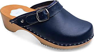 FUTURO FASHION Womens Healthy Natural Genuine Leather Wooden Sole Plain Clogs Unisex Colours Sizes 3-8 UK Navy