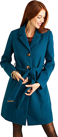 Yumi Petrol Blue Button Through Coat with Check Print