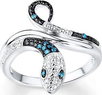 Kay Jewelers Blue & White Diamond Snake Ring 1/15 ct tw10K White Gold