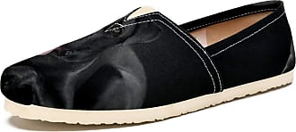 Tizorax Slip on Loafer Shoes for Women Lying Black Dog Comfortable Casual Canvas Flat Boat Shoe, UK Size 6.5