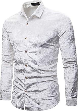 Whatlees Men Basic Design Long Sleeve Button Down Velour Dress Shirt Regular and Velvet White 02010203XWhite+L