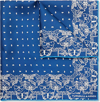 Turnbull & Asser Printed Silk-twill Pocket Square - Blue