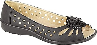 Boulevard Ladies Punched Open Toe Flower Trim Casual PU Sole Black size 9 UK