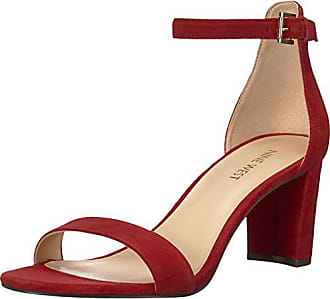 Nine West Womens Pruce Suede Heeled Sandal, red, 6 Medium US