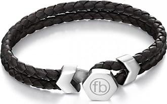 Acotis Limited Fred Bennett Button Fastening Steel Black Leather Bracelet B4977