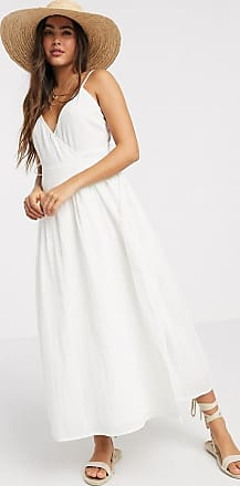 Asos Lange jurk van kreukelstof met gestrikte overslag-Wit