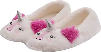 Forever Dreaming Ladies Womens Novelty Faux Fur Unicorn Slipper Textile Sole Indoor Comfort Cream 5-6