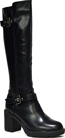 Generic New Black Double Buckle Knee High Zipped Block Heel Riding/Biker Boot (UK 7, Black)