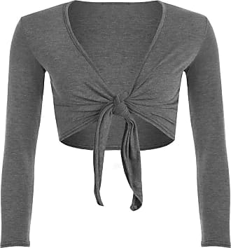 The Celebrity Fashion Womens Casual Tie Knot Cardigan Long Sleeve Shrug Open Front Lightweight Short Cropped Bolero Cardigan Charcoal