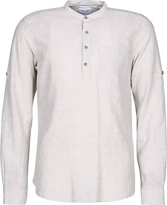 Only & Sons Mens Onscaiden Ls Half Placket Linen Shirt, Chinchilla, S