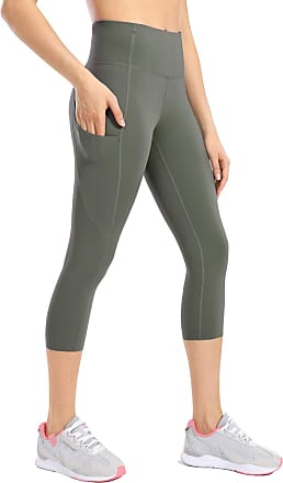 CRZ YOGA Womens Naked Feeling High Waist Crop 3/4 Gym Leggings Running Yoga Capri with Side Pocket 19 Inches Grey Sage 12