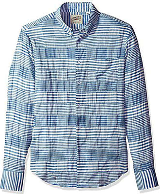 eec39e25f48 Naked   Famous Denim Mens Striped Windowpane Long Sleeve Button Down Shirt