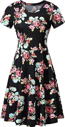 QUINTRA Women Summer Vintages Sleeveless Beach Bohe Casual Floral Tank Short Mini Dress (S, Black A)