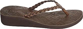 Urban Beach Ladies Islay Brown Leather Toe Post Wedge Beach Sandals-UK 7 (EU 41)