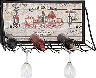 UMA Enterprises Inc. Chateau La Couspaude Wooden Wall Rack: Holds 6 Bottles and 6 Glasses
