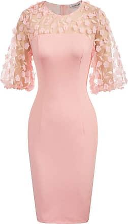 NEW PINK BLACK FLORAL BODYCON DRESS WOMENS LONG LADIES EVENING ELEGANT SIZE 8 UK
