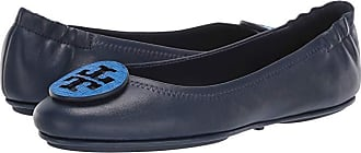 Tory Burch Minnie Travel Ballet with Logo (Royal Navy/Bright Tropical Blue) Womens Flat Shoes