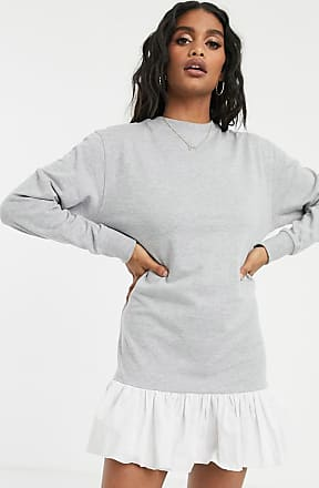 Missguided Graues Sweatkleid mit Rüschensaum