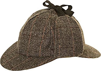 Hawkins Tweed Deer Stalkers Sherlock Holmes Herringbone Tweed (58cm, Dark Grey)