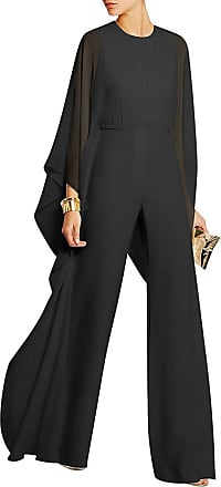 Vdual Women Long Sleeve Romper Chiffon Sheer Ruffle Wide Leg Jumpsuits Black