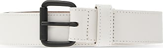 Diesel Leather Logo Belt Womens White