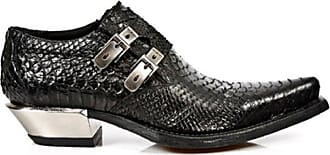 New Rock Newrock 7934-S2 Python Black Leather Buckle West Steel Heel Shoes Boot 8
