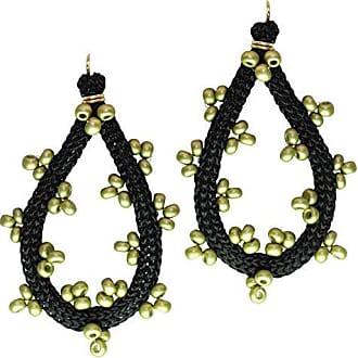 Tinna Jewelry Brinco Dourado Zig Zag Grande (Verde)