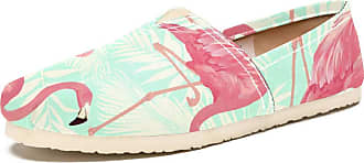 Tizorax Slip on Loafer Shoes for Women Flamingoes in Palm Leaves Comfortable Casual Canvas Flat Boat Shoe, UK Size 5.5