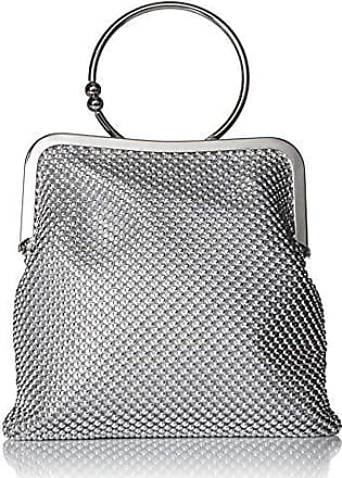 Jessica McClintock Jill Framed Mesh Pouch with Ring Handle, silver