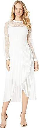 Bcbgmaxazria BCBGMax Azria Womens Asymmetrical Pleated Lace Dress, Optic White, 10
