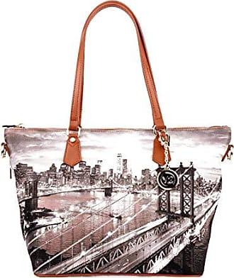 c409d3c8cfe7f Y Not Borsa Shopping Bag Zip L Tan Gold New York East River K 397